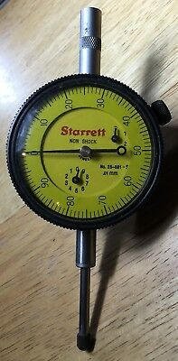 Starrett No.25-881J Non Shock Dial Indicator 1Mm Per Rev Range: 25Mm 0-100 Dial