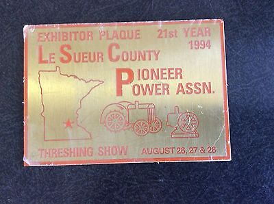Le Sueur County Pioneer Power Ass'n Exhibitor Plaque 21st Year 1994, metal 3 x4""