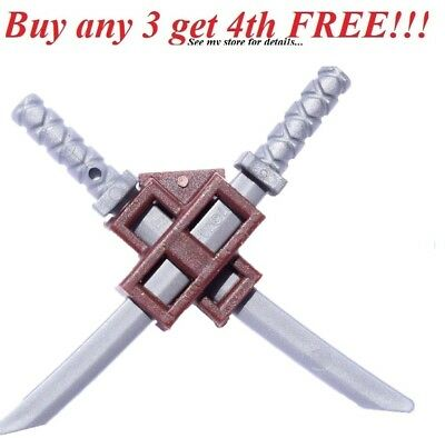 Lego 10 New Flat Silver Minifigure Weapon Sword Saber Dao Curved Blade Weapons