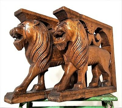 PAIR CORBEL BRACKET ANTIQUE FRENCH HAND CARVED WOOD LION SCULPTURE CARVING 19th