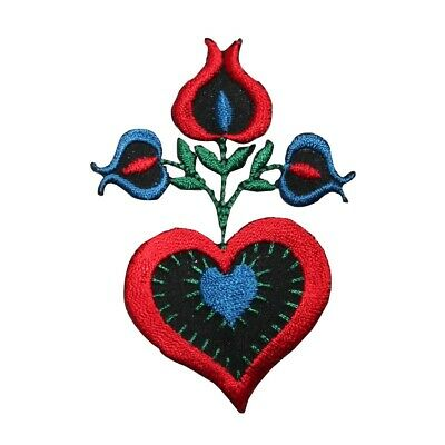 ID 6967 Red Heart Flower Patch Love Plant Blossom Embroidered Iron On Applique