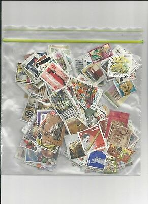 Malta - 250 All Different Clean Off Paper Used Stamps - #mlt250