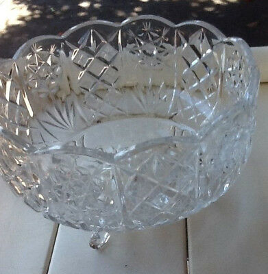 Crystal Diamond Cut Heavy  Tri Footed Bowl Old But Looks New