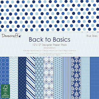 Dovecraft 12x12 Back to Basics BLUES SKIES - 36 Sheets Cardmaking & Scrapbooking