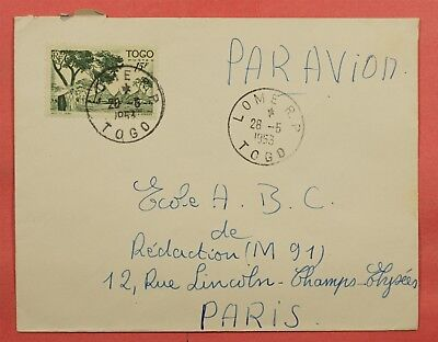 1953 Togo 15Fr Solo Use Airmail Cover Lome To France