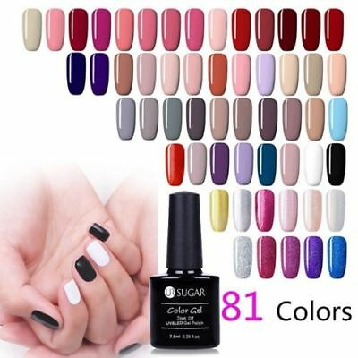 7.5ml Soak Off UV Gel Polish Sequins Glitter Nude Nail Art Gel Varnish UR SUGAR