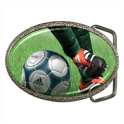 Soccer Ball and Player Football Sports Belt Buckle Silver Metal