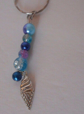 handcrafted zipper pull backpack charm blue glass beads ice cream cone charm