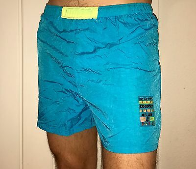 Vtg 80s 90s Palmettos NEON Blue Mens SMALL Nylon Swim SURF chubbies gym shorts