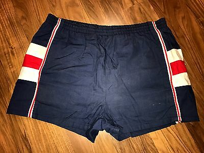 Vtg 70s 80s Mens MEDIUM Navy Striped BALBOA Retro running Track gym swim shorts