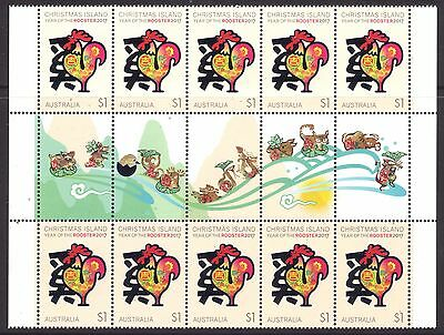 CHRISTMAS IS  2017 Year of the ROOSTER $10 Illustrated gutter of 10 stamps MNH