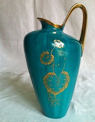 Edle Vase Türkis Goldstaffage Art Déco hand painted décoration d'or vaso in oro