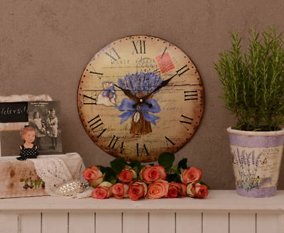 Lavender Kitchen Clock Shabby Chic Watch Antique Wall Clock Vintage