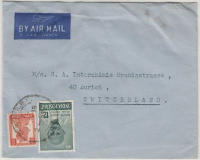 India - 12 A. Ghandi etc., airmail cover to SWITZERLAND, Bombay - Zürich 1948