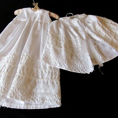 Vtg Handmade Crochet Ric Rac  White Christening Gown  Coat Cape Set chest 24 L27