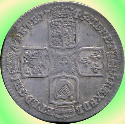 1745 Great Britain (Lima) 1 Shilling Coin (George II)