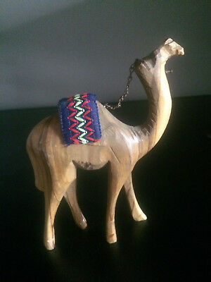 Hand Carved Olive Wood Camel With Fabric Saddle & Chain Reins 5.75""