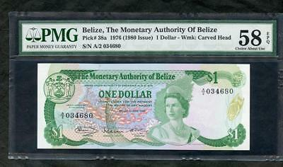 *1976 (1980 Issue) Belize, The Monetary Authority Of Belize $1 Pmg 58 Epq Lqqk!!