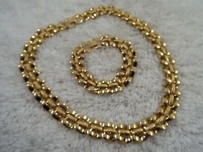 Goldtone Smooth & Etched Link Necklace + Bracelet SET (B22)