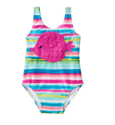 *nwt* Gymboree Little Girl Size 3T 5T Rainbow Stripes Pink Fish 1Pc Swimsuit