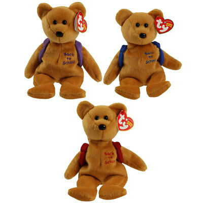 TY Beanie Babies - SET OF 3 BOOKS BEARS (Purple, Blue & Red) - MWMTs Stuffed Toy