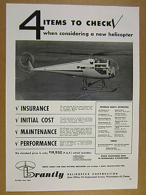 1960 Brantly B-2 B2 Helicopter photo vintage print Ad