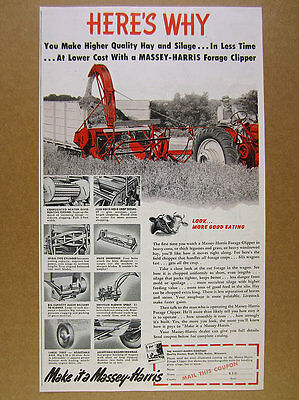 1952 Massey-Harris Forage Clipper tractor chopper farmer art vintage print Ad