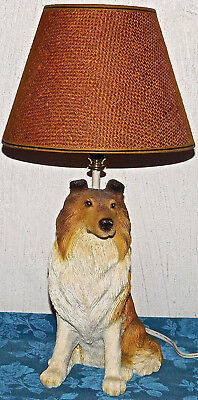 "Continental Creations Collie Lassie Dog Table Lamp With Shade 18"" Tall Works"
