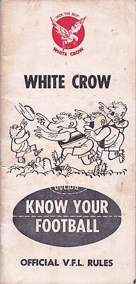 1961 White Crow Publication:  KNOW YOUR FOOTBALL (Rules, information & Fixtures)