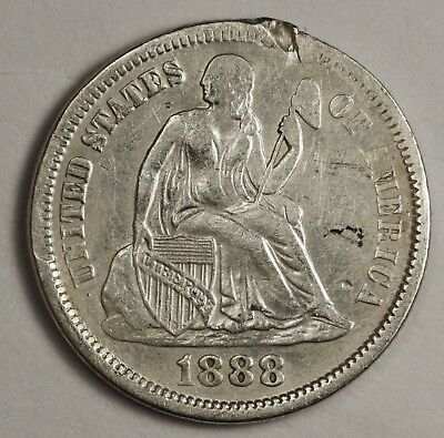 1888 Liberty Seated Dime.  V.F. Detail.  119505
