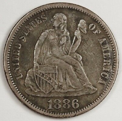 1886 Liberty Seated Dime.  Natural X.F.  119500