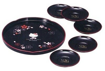 Hello Kitty Japanese Tea Set 5 Pieces - Round tray Saucers NEW