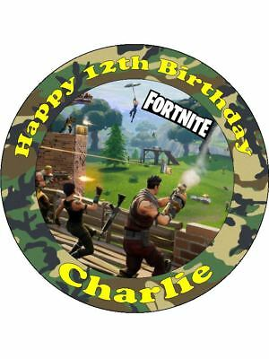Personalised Fortnite Battle Royale precut round icing birthday cake topper