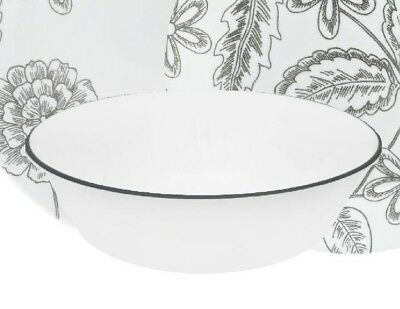 "1 Corelle VIVE REMINISCE 18-oz SOUP BOWL Cereal Salad 6 1/4"" *Dark Gray Grey Rim"