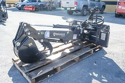 """Backhoe For Skid Steer,Dig 6',Hydraulic Swing 72"""" Bradco 460S,w/Thumb  Demo Save"""