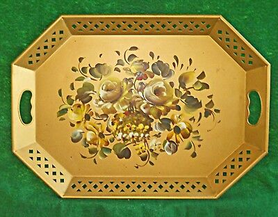 Vintage Octagonal Tole Tray Gold Flowers Pierced Hand Painted Nashco Steel