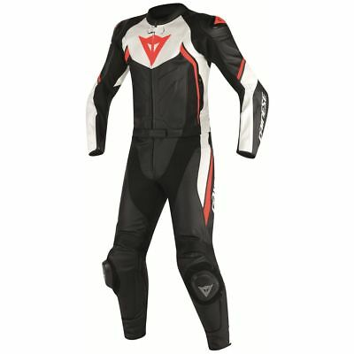 Dainese Avro D2 Two-Piece Leather Suit Black/White/Fluo Red