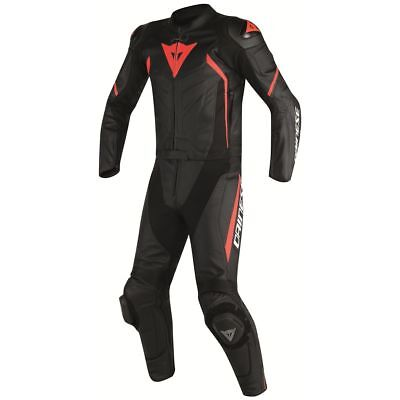 Dainese Avro D2 Two-Piece Leather Suit Black/Black/Fluo Red