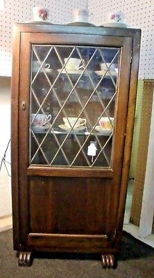 Antique Oak Leaded Glass One Door Curio Cabinet Paw Feet Lighted and AWESOME!
