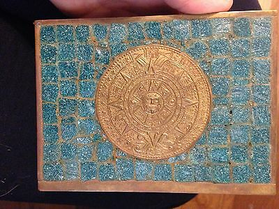 Vintage Mexican Aztec Brass Blue Tile Calendar Box With Free Shipping