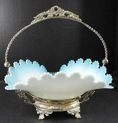 Vintage Decorative Silver Plated Bride's Basket With Art Glass Bowl