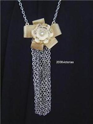 New GUESS in Gold Silver Flower Necklace Neu Halskette