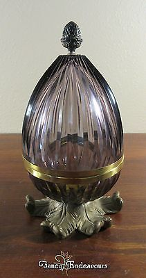 Antique French Amethyst Cut Crystal Egg Box with Dore Bronze Mounts......CEM