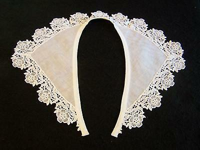 Pretty UNUSED Vintage White COLLAR w/  SCHIFFLI TYPE LACE TRIM Sheer