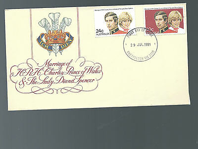 envelope with2 stamps marriage HRH CHARLES PRINCE OF WALES & LADY DIANA SPENCER