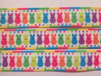 "BB Ribbon BRIGHT EASTER BUNNIES IN A ROW  2m grosgrain 7/8"" 22mm bunny"