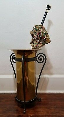 Vintage Brass Umbrella Stand with Wrought Iron Base