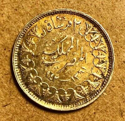 EGYPT King Farouk - Silver 2 Piastres AH1361-1942 - KM# 365 - British Royal Mint