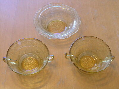 Patrician Spoke Federal Glass Depression Amber 2 Cream Soup Bowls &1 Cereal Bowl