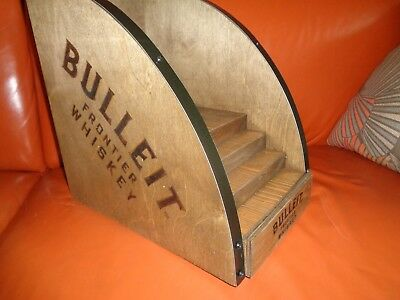 Bulleit Frontier Whiskey Bourbon Display Wood Shelf - Brand New! Neat! Rare!